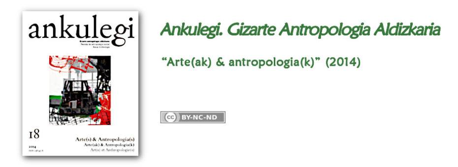"""""""Ankulegi. Gizarte Antropologia Aldizkaria""""-ren 18. zenbakiaren iragarkia: """"Arte(ak) & antropologia(k)""""."""