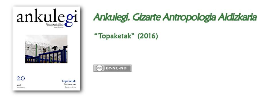 """""""Ankulegi. Gizarte Antropologia Aldizkaria""""-ren 20. zenbakiaren iragarkia: """"Topaketak""""."""