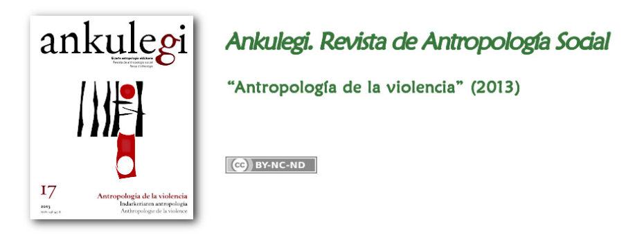 """Anuncio del n.º 17 de """"Ankulegi. Revista de Antropología Social"""": """"Antropología de la violencia""""."""