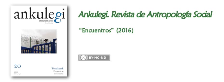 """Portada del n.º 20 de """"Ankulegi. Revista de Antropología Social"""": """"Encuentros""""."""
