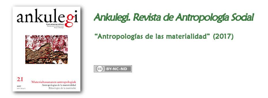 """Anuncio del n.º 21 de """"Ankulegi. Revista de Antropología Social"""": """"Antropología de la materialidad""""."""