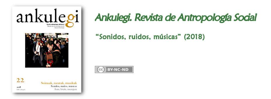 "Portada del nº 22 de ""Ankulegi. Revista de Antropología Social"": ""Sonidos, ruidos, músicas""."